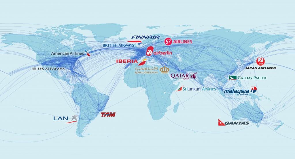 Red Oneworld con aerolíneas y sus hubs